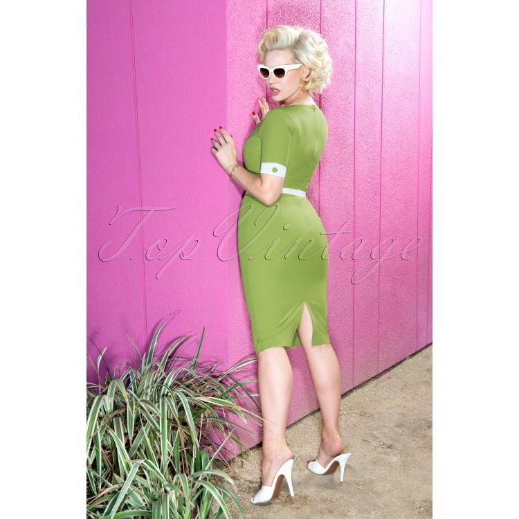Image 50s Annie Pencil Dress In Green