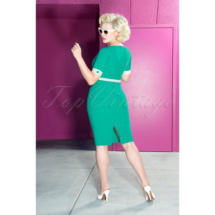 Image 50s Annie Pencil Dress In Turquoise