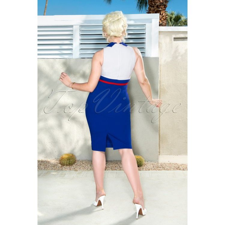 Image 50s Kelly Pencil Dress In Royal Blue And White