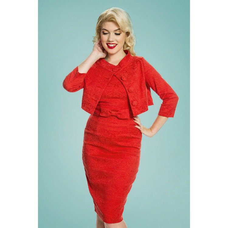 Image 60s Maybelle Jacquard Twin Set In Red