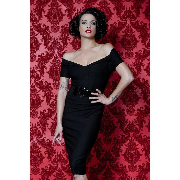 Image 50s Love Craft Pencil Dress In Black
