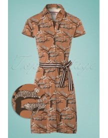 60s Just Paradise A-line Dress In Brown afbeelding