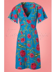 60s Shari Flower Kimono Dress In Blue Bell afbeelding