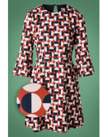 60s Mod Circles Dress In Rusty Red afbeelding