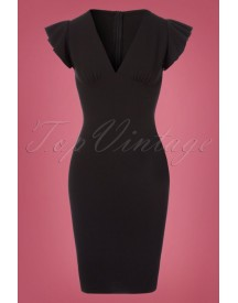 50s Shella Pencil Dress In Black afbeelding