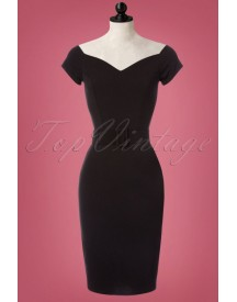 50s Wanda Pencil Dress In Black afbeelding