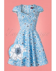 50s Daphne Floral Mini Dress In Sky Blue afbeelding