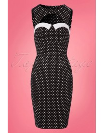 50s Miley Polkadot Pencil Dress In Black afbeelding