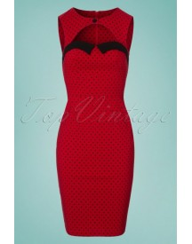 50s Miley Polkadot Pencil Dress In Dark Red afbeelding