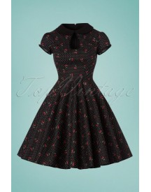 50s Sophie Cherry Swing Dress In Black afbeelding