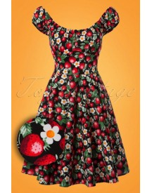 50s Strawberry Sundae Swing Dress In Black afbeelding