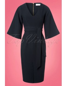 50s Veronica Flared Sleeves Pencil Dress In Navy afbeelding