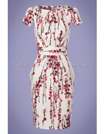 60s Cherry Blossom Tulip Dress In Ivory afbeelding