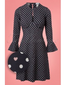 60s Polly Polkadot Tunic Dress In Navy afbeelding