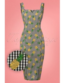 50s Anita Pineapple Gingham Pencil Dress In Green afbeelding