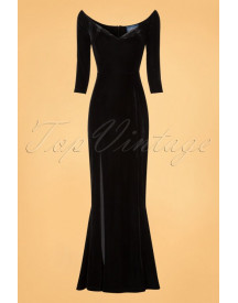 50s Anjelica Velvet Maxi Dress In Black afbeelding
