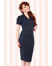 50s Caterina Pencil Dress In Navy afbeelding