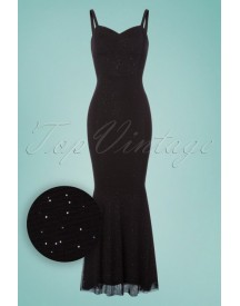 50s Delia Glittery Maxi Dress In Black afbeelding