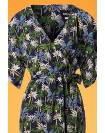 70s Kelly Palm Tree Maxi Dress In Navy afbeelding
