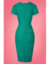 50s Victoria Pencil Dress In Green afbeelding
