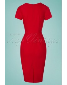 50s Victoria Pencil Dress In Red afbeelding
