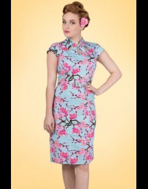 50s Alice Blossom Pencil Dress In Blue afbeelding