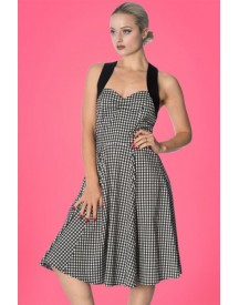 50s Summer Days Strappy Dress In Black And White Gingham afbeelding