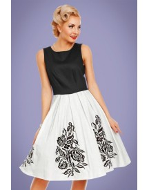 50s Annie Embroidered Roses Swing Dress In Black And White afbeelding