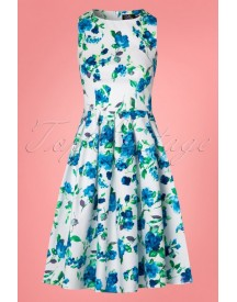 50s Annie Floral Swing Dress In White And Blue afbeelding