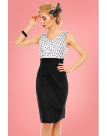 50s Cheryl Polkadot Pencil Dress In Black And White afbeelding