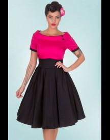 50s Darlene Swing Dress In Black And Hot Pink afbeelding