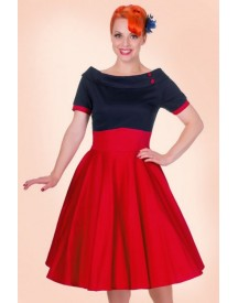 50s Darlene Swing Dress In Navy And Red afbeelding