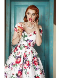 50s Lily Floral Swing Dress In White afbeelding