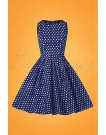 50s Lola Polkadot Swing Dress In Navy And White afbeelding