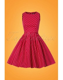 50s Lola Polkadot Swing Dress In Red And White afbeelding