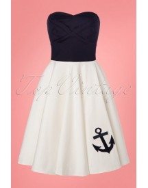 50s Melissa Strapless Swing Dress In Navy And Ivory afbeelding