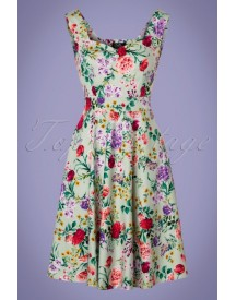50s Natalie Floral Swing Dress In Green afbeelding