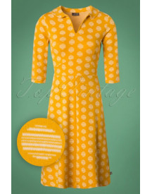 60s Milou Circle Jacquard A-line Dress In Honey afbeelding
