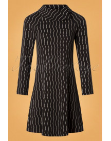 60s Rachel Jacquard A-line Dress In Charcoal afbeelding