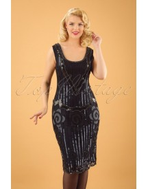20s Audrey Flapper Dress In Black And Navy afbeelding