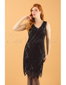 20s Liz Flapper Dress In Black afbeelding