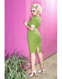 50s Annie Pencil Dress In Green afbeelding
