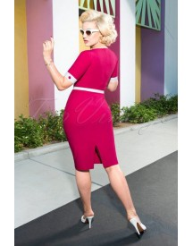 50s Annie Pencil Dress In Hot Pink afbeelding