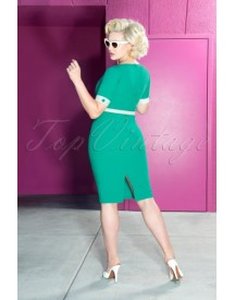 50s Annie Pencil Dress In Turquoise afbeelding