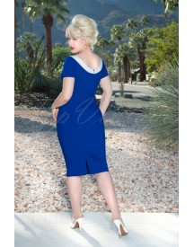 50s Audrey Pencil Dress In Royal Blue afbeelding