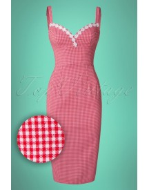 50s Cindy Pencil Dress In Red Gingham afbeelding