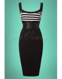50s Didi Pencil Dress In Black And White afbeelding