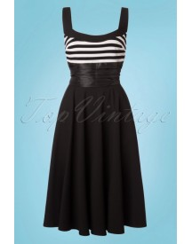50s Didi Swing Dress In Black And White afbeelding