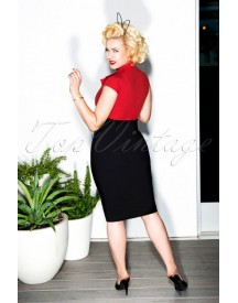 50s Lexy Pencil Dress In Black And Red afbeelding