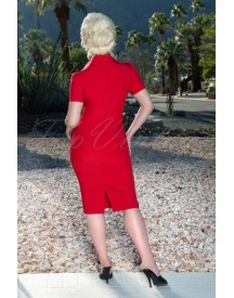 50s Rita Rae Pencil Dress In Red afbeelding